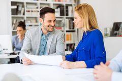 Businesspeople collaborating in office Royalty Free Stock Images