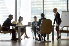 Businesspeople colleague and woman ceo team leader. Businesspeople colleague and women ceo team leader discussing and briefing in meeting at conference room stock images