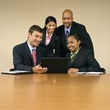 Businesspeople with computer. stock photos