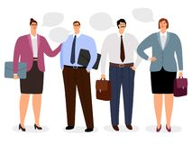 Businesspeople with conversation bubbles. Vector icons set on white background stock illustration