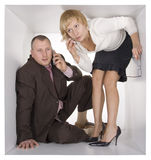Businesspeople in cube Royalty Free Stock Images