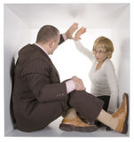 Businesspeople in cube stock photography