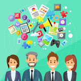 Businesspeople Digital Device Entertainment Flat Stock Image