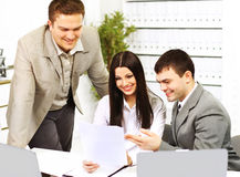 Businesspeople discuss the new project at office. Royalty Free Stock Photos