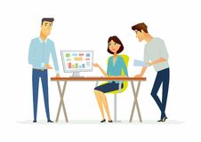 Businesspeople discuss a project - modern cartoon people characters illustration Stock Photos