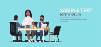 Businesspeople discussing contract during business development meeting african american colleagues working with co. Investment document negotiation concept flat royalty free illustration