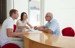 Businesspeople  discussing a joint project Stock Images