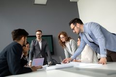 Businesspeople discussing together in conference room during meeting. At office royalty free stock photo