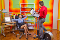 Businesspeople doing exercise Stock Photography