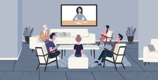 Businesspeople doing video conferencing colleagues having online business meeting web conference concept office workers. Group discussing co-working center royalty free illustration