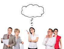 Businesspeople dreaming. Group of businesspeople dreaming on white background Royalty Free Stock Image