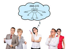 Businesspeople dreaming on seo. On white background Stock Images