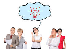 Businesspeople dreaming. On success on white background Royalty Free Stock Image