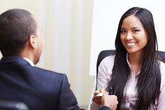 Businesspeople exchanging business cards Stock Photo