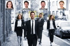 Businesspeople Face Recognized With Intellectual Learning System. Portrait Of Young Businesspeople Face Recognized With Intellectual Learning System royalty free stock photo