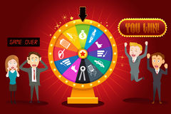 Businesspeople with Financial Wheel of Fortune. A vector illustration of businesspeople with financial wheel of fortune for gambling concept Royalty Free Stock Image
