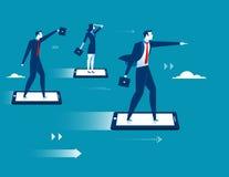 Businesspeople flying on smartphone Stock Photography
