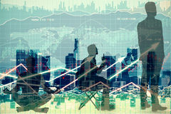 Businesspeople on forex chart background. Meditating, sitting and standing businesspeople silhouettes on forex chart background. Financial growth concept Royalty Free Stock Images