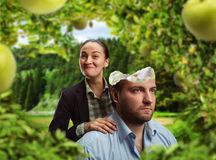 Businesspeople in the garden Stock Images