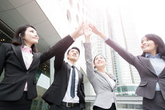 Businesspeople give five. In hongkong, asian Royalty Free Stock Photo