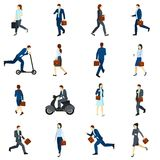Businesspeople Going To Work Flat Icons  Set. Flat color  icons set with businesspeople going to work by foot  scooter and  motorcycle  vector illustration Royalty Free Stock Images