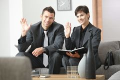 Businesspeople greeting partner Royalty Free Stock Images
