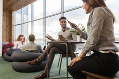 Businesspeople Group In Coworking Center, Coworkers Workplace Mix Race People Meeting. Modern Office Stock Images
