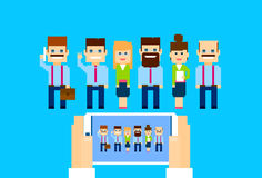 Businesspeople Group Hands Hold Cell Smart Phone Internet Conference Royalty Free Stock Image