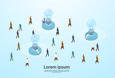 Businesspeople Group Light Bulb Business People Crowd 3d Isometric Design. Vector Illustration Royalty Free Stock Image