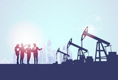 Businesspeople Group Oil Industry Business Company Pump Petrol Banner. Flat Vector Illustration royalty free illustration