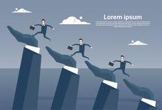 Businesspeople Group Running On Business Hands Up Progress Career Development Concept. Flat Vector Illustration Stock Photos