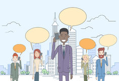 Businesspeople Group Smart Cell Phone Talk Chat Bubble Communication Over Big City View Stock Image