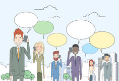 Businesspeople Group Smart Phone Talk Chat Bubble Royalty Free Stock Photography