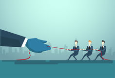 Businesspeople Group Two Team Pulling Rope, Business Competition Concept. Flat Vector Illustration royalty free illustration