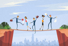 Businesspeople Group Unstable Shaking Over Cliff. Team Problem Business People Risk Concept Flat Vector Illustration Royalty Free Stock Image