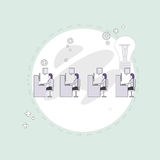Businesspeople Group Working Creative Team Business People Sitting Office Desk Concept. Vector Illustration vector illustration