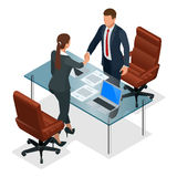 Businesspeople handshaking after negotiation or interview at office. Productive partnership concept. Constructive. Business Confrontation isometric vector Stock Image
