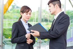 Businesspeople have a arguement. In a discussion royalty free stock photos