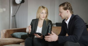 Businesspeople have informal meeting. stock video