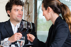 Businesspeople have a lunch in restaurant Stock Photo
