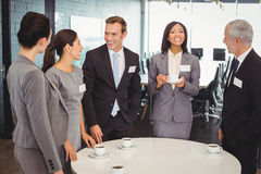 Businesspeople having a discussion during breaktime Stock Photos