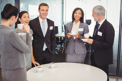Businesspeople having a discussion during breaktime Royalty Free Stock Photography