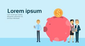 Businesspeople hold laptop successful businessgroup accumulation of wealth in money box piggy bank growing financial. Success teamwork concept copy space flat Stock Photos