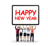 Businesspeople holding new year text Royalty Free Stock Photos