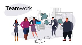 Businesspeople holding puzzle parts problem solution teamwork and brainstorming concept business people team cooperation. Modern office interior sketch doodle royalty free illustration