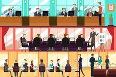 Businesspeople i ett kontor vektor illustrationer
