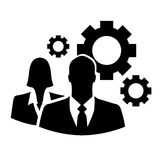 Businesspeople icon with gears Stock Images