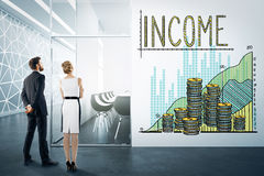 Businesspeople with income sketch Stock Images