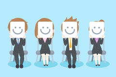Businesspeople with interview concept. On the blue background royalty free illustration