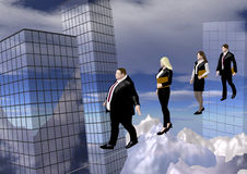 Businesspeople on line. Four businessmen and businesswomen walking on a thin rope between skyscrapers, 3D illustration, raster illustration Royalty Free Stock Image
